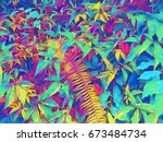 summer foliage with green leaf... | Shutterstock . vector #673484734