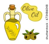 olive oil in the bottle with a... | Shutterstock . vector #673486048