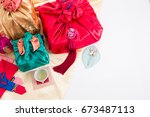 asian traditional gift box on... | Shutterstock . vector #673487113