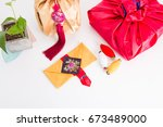 asian traditional gift box on... | Shutterstock . vector #673489000