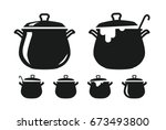 pot with lid  pan of soup... | Shutterstock .eps vector #673493800