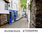 port isaac  cornwall  uk. july... | Shutterstock . vector #673504990