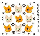 cat pattern cute animal... | Shutterstock .eps vector #673506208