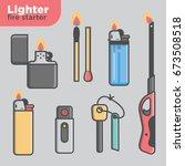 lighter fire starter icon set | Shutterstock .eps vector #673508518