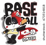 cute cartoon panda boy baseball ... | Shutterstock .eps vector #673514818