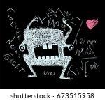 scribble doodle scary monster... | Shutterstock . vector #673515958