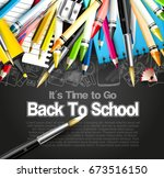 back to school template with... | Shutterstock .eps vector #673516150