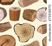 wood stumps vector set pattern | Shutterstock .eps vector #673528570