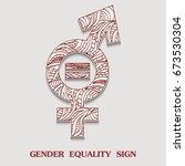 symbol of gender equality is... | Shutterstock . vector #673530304