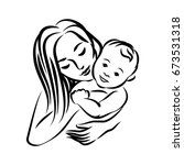 mother with her baby. stylized... | Shutterstock . vector #673531318