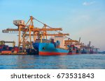 container ship in export and... | Shutterstock . vector #673531843