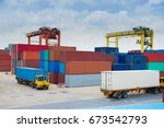traffic of container operation... | Shutterstock . vector #673542793