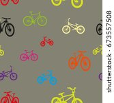 bicycles seamless patterns | Shutterstock .eps vector #673557508