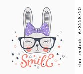 Stock vector cute rabbit with glasses smile 673558750