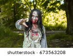 Girl Zombie In The Blood In Th...