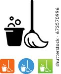 mop and bucket icon | Shutterstock .eps vector #673570996