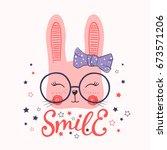 cute rabbit. smile | Shutterstock .eps vector #673571206