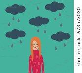 girl in a bad mood. cartoon sad ... | Shutterstock .eps vector #673573030