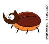 cute cartoon rhinoceros beetle. ... | Shutterstock .eps vector #673573864