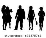 big crowds people of wedding on ... | Shutterstock . vector #673575763