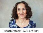 portrait of beautiful mature... | Shutterstock . vector #673575784