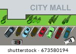top view city mall parking   Shutterstock .eps vector #673580194