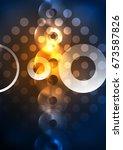 glowing circles in the dark ... | Shutterstock . vector #673587826
