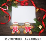 christmas cookies and letter... | Shutterstock . vector #673588384