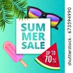 vector summer sale background... | Shutterstock .eps vector #673594990