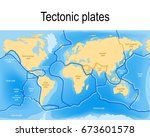 tectonic plates. world map with ... | Shutterstock .eps vector #673601578
