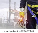 close up harnesses and gloves ... | Shutterstock . vector #673607449