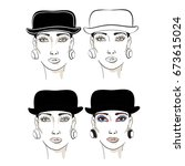 model style fashion  bowler hat ... | Shutterstock .eps vector #673615024