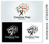 creative tree logo design... | Shutterstock .eps vector #673633198