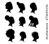 set of silhouettes african... | Shutterstock .eps vector #673654156