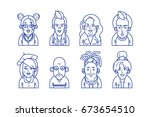 hipster people line style icon... | Shutterstock .eps vector #673654510