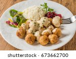 typical swedish style meatball | Shutterstock . vector #673662700