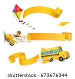 air banners  3d vector set. | Shutterstock .eps vector #673676344