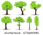 set of trees on white... | Shutterstock .eps vector #673684480