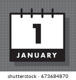 january 1st new year's day icon | Shutterstock .eps vector #673684870