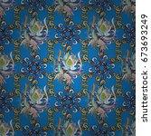 cute fabric pattern. flat leaf... | Shutterstock . vector #673693249