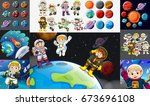 astronauts and planets in solar ... | Shutterstock .eps vector #673696108
