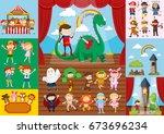 children and school drama... | Shutterstock .eps vector #673696234