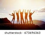 five happy friends having fun... | Shutterstock . vector #673696363