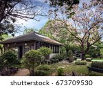 the house in the beautiful... | Shutterstock . vector #673709530