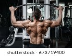 brutal strong bodybuilder... | Shutterstock . vector #673719400