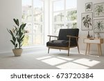idea of white room with... | Shutterstock . vector #673720384