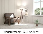 white room with armchair and... | Shutterstock . vector #673720429
