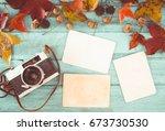 retro camera and empty old...   Shutterstock . vector #673730530