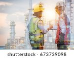 double exposure of manager and... | Shutterstock . vector #673739098