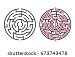 abstract maze   labyrinth with... | Shutterstock .eps vector #673743478
